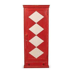 Pre-owned Red Diamond Cabinet - Red cabinet with white diamonds down the center of the door with four adjustable shelves in the interior and a small drawer at the bottom. Made of wood and finished in a whimsical red and white design!