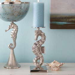 Seahorse Candleholder - Seahorses are such delicate and graceful creatures. And did you know that they are monogamous and mate for life? Rarer still, they're among the only animal species on Earth in which the male bears the unborn young.