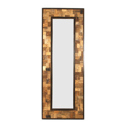 Rustique Mirror - H:80 W:30 D:1.5 - A geometric mosaic brings out the exquisite stone-like patterns found in the heart of reclaimed wood.� Beautifully joined together within a simple border of recycled steel, the fitted fragments create the broad frame of the Rustique Mirror.� This vertical wall piece is over seven dramatic feet tall, allowing the materials to be presented with the maximum interest and sensitivity.