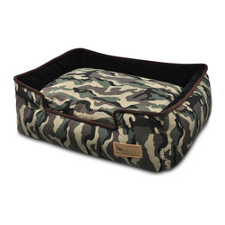 P.L.A.Y. - P.L.A.Y. Camouflage Lounge Bed Army Green/Chocolate Large - The P.L.A.Y. Camouflage lounge bed is great for your pet to be perfectly comfortable in. The bed has elevated surroundings and an inner cushion that gives your pet the ultimate relaxation that it can get. Being dryer friendly and machine washable, the fabric is easy to maintain and will last a long time. One aspect needs to be taken into consideration when it comes to this bed, and that is your pet weight.  Camouflage design with custom-made P.L.A.Y. zipper. Furniture-grade craftsmanship and even-basting stitching ensures dog-years of use. Filled with the perfect amount and density of high-loft PlanetFill filler. Eco-friendly PlanetFill filler is made from 100% post-consumer certified-safe recycled plastic bottles. Machine washable and dryer friendly. Momo-approved and tested by her four-legged friends.