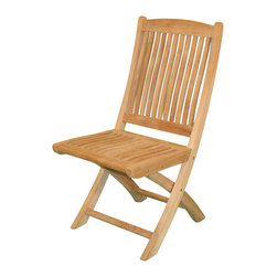 Jewels of Java - Harbor Folding Chair in Teak - Mortise and tenon construction. Plantation grown teak. Warranty: Three years. Made from solid teak. 19 in. W x 18 in. D x 26 in. HJewels of java's Harbor Folding Chair is perfect for casual dining or in any casual setting. Made out of high grade solid teak wood, this dining chair will bring you endless hours of hassle free relaxation and casual dining enjoyment. Teak is the natural and environmentally friendly choice for outdoor furniture, and all of our teak is plantation grown and replanted when harvested. No maintenance is needed for teak wood; it will withstand whatever Mother Nature throws at it while maintaining an elegant and stylish appearance.