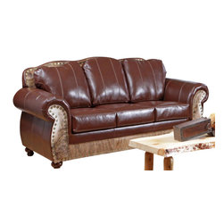 Chelsea Home Furniture - Chelsea Home Saddle Me Up Sofa in Leather St. Thomas Brunette - Saddle Me Up sofa in Leather St. Thomas Brunette/Medium Brindle Cowhide belongs to Verona II collection by Chelsea Home Furniture