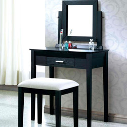 Black Grain Veneer 2Pcs Vanity Set / Grey Fabric Stool by Monarch Specialties - This stylish contemporary, two piece vanity set will be a fabulous addition to your bedroom or dressing area. Create a peaceful space to get ready for your day, or a great place to dress for a fun night out. This piece features smooth lines, square legs, a vertical swivel mirror, and a center drawer to keep brushes and other objects. With a black grain finish and constructed with solid hardwoods and veneer, this vanity set will add sophistication to any room. The matching stool features sleek wooden legs, accompanied with a comfortably padded grey fabric covered seat.