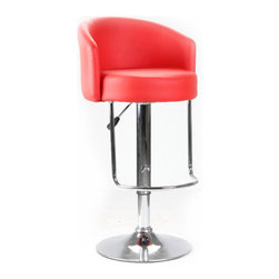 """International Design - Adjustable Height Swivel Stool - Features: -Adjustable H swivel stool. -Base construction: Metal. -Seat and back construction: Black leatherette. -Adds modern aesthetics to suit different spaces. -Ideal for home or office. -Hydraulic lift for smooth adjustment. -Swivels 360 degrees. -Assembly required. -Dimensions: 24.4""""-34.2"""" H x 18"""" W x 18"""" D."""