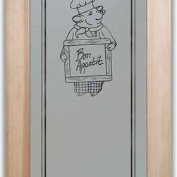 "Pantry Doors Piggy Chef - PANTRY DOORS TO SUIT YOUR STYLE!  Glass Pantry Doors you customize, from wood type to glass design!   Shipping is just $99 to most states, $159 to some East coast regions, custom packed and fully insured with a 1-4 day transit time.  Available any size, as pantry door glass insert only or pre-installed in a door frame, with 8 wood types available.  ETA for pantry doors will vary from 3-8 weeks depending on glass & door type.........Block the view, but brighten the look with a beautiful obscure, decorative glass pantry door by Sans Soucie!   Select from dozens of frosted glass designs, borders and letter styles!   Sans Soucie creates their pantry door obscure glass designs thru sandblasting the glass in different ways which create not only different effects, but different levels in price.  Choose from the highest quality and largest selection of frosted glass pantry doors available anywhere!   The ""same design, done different"" - with no limit to design, there's something for every decor, regardless of style.  Inside our fun, easy to use online Glass and Door Designer at sanssoucie.com, you'll get instant pricing on everything as YOU customize your door and the glass, just the way YOU want it, to compliment and coordinate with your decor.  When you're all finished designing, you can place your order right there online!  Glass and doors ship worldwide, custom packed in-house, fully insured via UPS Freight.   Glass is sandblast frosted or etched and pantry door designs are available in 3 effects:   Solid frost, 2D surface etched or 3D carved. Visit or site to learn more!"
