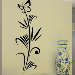 StickONmania - Butterfly Plant Design #6 Sticker - A cool vinyl decal wall art decoration for your home  Decorate your home with original vinyl decals made to order in our shop located in the USA. We only use the best equipment and materials to guarantee the everlasting quality of each vinyl sticker. Our original wall art design stickers are easy to apply on most flat surfaces, including slightly textured walls, windows, mirrors, or any smooth surface. Some wall decals may come in multiple pieces due to the size of the design, different sizes of most of our vinyl stickers are available, please message us for a quote. Interior wall decor stickers come with a MATTE finish that is easier to remove from painted surfaces but Exterior stickers for cars,  bathrooms and refrigerators come with a stickier GLOSSY finish that can also be used for exterior purposes. We DO NOT recommend using glossy finish stickers on walls. All of our Vinyl wall decals are removable but not re-positionable, simply peel and stick, no glue or chemicals needed. Our decals always come with instructions and if you order from Houzz we will always add a small thank you gift.