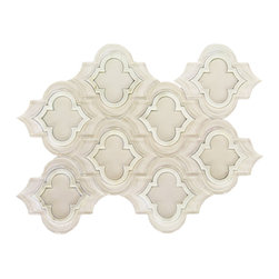 Sample-Highland Kensington Super White and Asian Statuary Marble and Glass Tile - Sample-Highland Kensington Super White and Asian Statuary Marble and Glass Tile Sample   Samples are intended for color comparison purposes, not installation purposes.