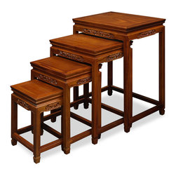 "China Furniture and Arts - Rosewood Dragon Motif Nesting Tables - Exhibiting its pleasing simple lines in a distinct Ming (1368-1644) style, this exquisite set of four nested tables can be used individually or to the delight of your own artistic arrangement. Each table is further decorated with a hand carved dragon motif. All are completely handmade in solid rosewood by artisans in China using traditional joinery techniques. A hand applied natural rosewood finish enhances the beauty of the wood grains. (Large table: 20""W x 14""D x 26""H, Medium Table: 17""W x 12.25""D x 22""H, Small Table: 14""W x 10.25""D x 18""H, Extra Small Table:11""W x 8.25""D x 14""H)"