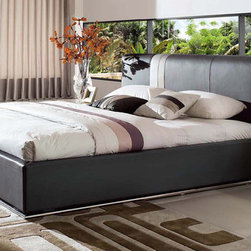 Zuri Furniture - Prix Leather Contemporary Platform Bed - Grey, Queen - Embellish your bedroom with the eye-catching Prix contemporary bed. The racy look and feel features a grey top-grain Italian leather crafted headboard with clean and bright accent striping detail.