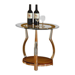 Homelegance - Homelegance Wells Glass Top Chrome Legs End Table with Cherry Shelf - Homelegance - End Tables - 330204 - A contemporary take on traditional bombe styling the Wells Collection adds flair to your living room ensemble. Chrome legs generously curve to feature cherry finished wood display shelves continuing their journey to provide circular support to the glass tabletops.