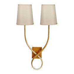 Worlds Away Hannah Gold Leaf 2-Arm Sconce - Worlds Away Hannah Gold Leaf 2-Arm Sconce