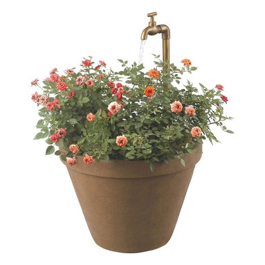 Kenroy - Kenroy KR-53220-TC Full Bloom Outdoor Table / Floor Fountain - This classic terra cotta form is comfortable on deck, porch or patio.  An adjustable water spigot and uplight provides sensory experience day or night.  Plant your favorite flowers in the front planter while water flows into the back basin.