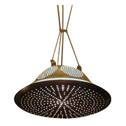 EcoFirstArt - colander pendant light - Are you ready to step back in time for a more futuristic impact? This pendant lamp, created from upcycled aluminum kitchenware, provides ambient lighting with a decidedly space age impression.