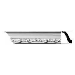 The Renovators Supply - Cornice White Urethane Williamsburg - Cornice - Ornate | 11453 - Cornices: Made of virtually indestructible high-density urethane our cornice is cast from steel molds guaranteeing the highest quality on the market. High-precision steel molds provide a higher quality pattern consistency, design clarity and overall strength and durability. Lightweight they are easily installed with no special skills. Unlike plaster or wood urethane is resistant to cracking, warping or peeling.  Factory-primed our cornice is ready for finishing.  Measures 3 inch H x 94 inch L.