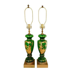 1940's Emerald Green Hand Painted Glass Lamps - $800 Est. Retail - $650 on Chair -