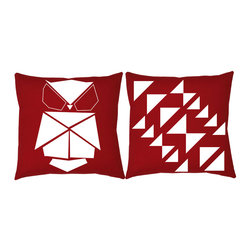 RoomCraft - RoomCraft 2pc Origami Pillow Covers/Cushion Set, Red, 16x16 Inches, Origami Owl, - FEATURES: