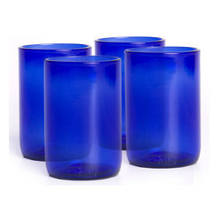 Bambeco Cobalt Clear Tumblers Set of 4 - Crisp cobalt blue tumblers bring refreshing thoughts to mind while enjoying a cool drink These 11 oz tumblers are created from the lower portion of recycled Westport Rivers Wine Bottles. Quench your thirst in style.  CheersThe company's trademark technique allows them to create two separate drinking glasses from one bottle without wasting any glass. The goblets are formed with the top halves of wine bottles, and the matching tumblers are created with the bottom halves.Sold in a set of 4.The Cobalt Collection is available in clear or frosted in goblet or tumbler styles.