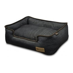 P.L.A.Y. - P.L.A.Y. Urban Denim Lounge Bed Medieval Blue/Chocolate Medium - The P.L.A.Y. Urban Denim lounge bed is loved by pets all around because it is made from soft yet toughest denim material there is. The bed is also elevated from the sides so that your pet can have a perfect headrest. This stylish bed is also eco-friendly and can be machine washed to keep it clean. This bed can be your pet's second favorite resting place, after your lap of course! Stylish and timeless denim material with signature P.L.A.Y. leather logo and custom-made P.L.A.Y. zipper. Furniture-grade craftsmanship and even-basting stitching ensures dog-years of use. Filled with the perfect amount and density of high-loft PlanetFill filler. Eco-friendly PlanetFill filler is made from 100% post-consumer certified-safe recycled plastic bottles. Machine washable and dryer friendly. Momo-approved and tested by her four-legged friends.