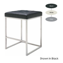 Nuevo Living - Chi Counter Stool, Set of 2, White - Upgrade the counter space in your favorite modern setting with this cool stool. Its sleek yet sturdy frame, with thick foam and Naugahyde-covered upholstery, makes for the ultimate in style and comfort.