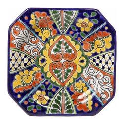 "Mexican Talavera - Mexican Talavera 9"" Octagonal Plate, Design B - Mexican Talavera 9"" Octagonal Plate"
