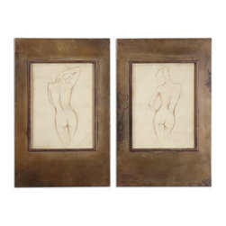 Uttermost - Uttermost 35236  Bronze Figures Art Set/2 - Plated, oxidized, golden bronze frames with heavy antiquing stain accent this artwork. frame's inner lips are a darker bronze color. prints are under glass.