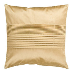 """Surya - Surya Tracks Decorative Pillow - Gold - HH022-1818D - Shop for Pillows from Hayneedle.com! About Surya RugsSince 1976 Surya has established itself as one of India's leading producers of fine hand-knotted hand-tufted and flat-woven rugs. Their products are sold in the U.S.A. at respected department and specialty stores. The company is known for its quality value dedication and innovation. This includes responsibility for the entire process - spinning dyeing weaving and finishing. Surya prides itself on using the best raw material available for the production of their rugs. They are proud members of """"Wools of New Zealand."""" From design concept through production a Surya family member is involved making sure that the highest standards are being met at each level. Surya works with top designers and constantly updates their designs and color palettes to match and set the trends in design and fashion for the home. Surya always means a fine choice in rugs."""