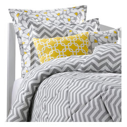 American Made Dorm & Home - Gray Chevron Comforter (Twin)- One Standard Matching Sham Included - Our gray chevron quilted comforter is high quality, 100% plush cotton twill. The comforter set includes a standard pillow sham, also in Gray Chevron. Made in USA. Other pillows shown are not included.