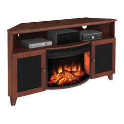 """Furnitech - 61"""" Shaker Style TV Media Corner Console - 61"""" Shaker Style TV Media Corner Console for Flat Screen and Audio Video Installations with 25"""" Curved Electric Fireplace"""