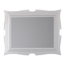 "Florencia 31"" 1/2 framed vanity wall mirror. White. - Florencia 31"" 1/2 bathroom mirror with frame. White."