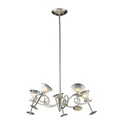 Elk Lighting - Elk Lighting 3653/5 Martini Glass Transitional Chandelier in Silver Leaf - Elk Lighting 3653/5 Martini Glass Transitional Chandelier in Silver Leaf