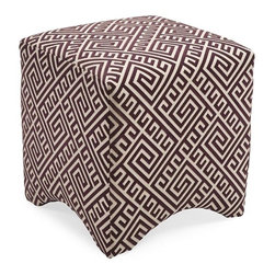 """IMAX - Marisa Graphic Ottoman - Purple - Made in the USA. Merging fashionable upholstery and timeless design, this collection of quality furniture is made by skilled craftsmen and is an essential for any home or office. Made of U.S. and imported parts. Item Dimensions: (18""""h x 18""""w x 18"""")"""