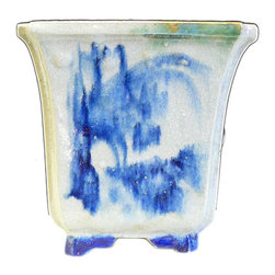 Golden Lotus - Chinese Handmade Ceramic Blue Graphic Planter Brush Tree - This is a decorative piece handmade with off grayish white ceramic and painted with blue color brush style oriental scenery.