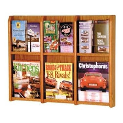 Wooden Mallet - Oak Magazine & Brochure Wall Rack w Removable - Finish: Dark Red MahoganyUprights and clear acrylic pocket front panels. Predrilled with hardware included for simple wall mounting. Furniture quality construction with solid oak sides sealed in a durable state-of-the-art finish. Pictured in Medium Oak. Optional floor stand not included. No assembly required. 2.875 in. D x 30 in. W x 23.875 in. H (20 lbs.). Floor Stand:16 in. D x 2 in. W x 53 in. H (10 lbs.)Wooden Mallet's Oak & Acrylic Wall Displays will add warmth and class to your magazine and literature collection. Clear acrylic panels allow full view of literature while keeping it neat and organized. money