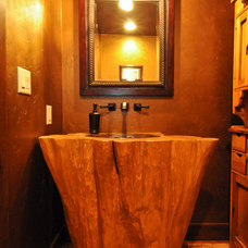 Traditional Powder Room by Mountain Log Homes of CO, Inc.