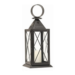 Achla - Raleigh Tavern Lantern - Light your deck or patio with the welcoming ambiance of this Raleigh Tavern Lantern ,reminiscent of a colonial lantern.  It is crafted with iron and glass and is equipped with a sturdy ring for hanging This beauty has a decorative punched roof for venting and a hinged door. * Finish: Powder Coated - Black. Iron and Glass. Decorative Punched roof for venting. Hinged door. 5.5 in. W x 5.5 in. D x 14.5 in. H