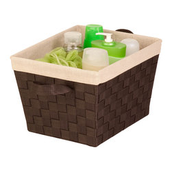 Honey-Can-Do - Espresso Medium Woven Shelf Bin - This woven strap bin is home organization made easy. With handles for transportation and an iron wire frame, this bin can hold towels, toys, clothes and much more.   12'' W x 8'' H x 10'' D Polypropylene Imported