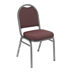 National Public Seating - National Public Seating 9262 Dome Fabric Padded Stack Chairs with Pattern - Whether it's for the cafeteria, corporate banquets or casual gatherings, our well-upholstered Dome Back is built (And priced) to fit! 7/8 inch square-tube 18-gauge steel frame provides superior strength, enhanced even more by the 5/8 inch under seat and H-braces. With a spacious 2 inch-thick foam-cushioned waterfall seat, comfort is also ensured. The back has a convenient hand-hold for easier moving and stacking. Both seat and back have a plywood core. Stacking bars and 12 plastic stack bumpers ensure that chairs stack securely without damaging the attractive powder-coated frame finish. Ships fully assembled.