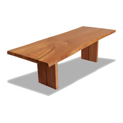 Rotsen Furniture - Live Edge Elm Dining Table - Rectangular dining table made with a single slab of solid English Elm wood.