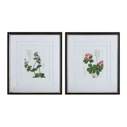 """Uttermost Asian Flowers Framed Art Set/2 - Black satin outer frame and champagne silver leaf inner part of frame three, very light gray, v-grooved mats accent this set of prints. Each mat floats 1/4"""" above the other giving added depth and dimension. Frames are black satin with champagne silver leaf inner edges. Prints are under glass."""