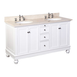 Kitchen Bath Collection - Bella 60-in Double Sink Bath Vanity (Crema Marfil/White) - This bathroom vanity set by Kitchen Bath Collection includes a white cabinet, soft close drawers, self-closing door hinges, Spanish Crema Marfil marble countertop, double undermount ceramic sinks, pop-up drains, and P-traps. Order now and we will include the pictured three-hole faucets and a matching backsplash as a free gift! All vanities come fully assembled by the manufacturer, with countertop & sink pre-installed.