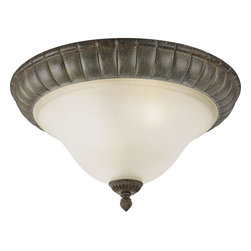Progress Lighting - Progress Lighting Maison Orleans Traditional Flush Mount Ceiling Light X-78-5363 - From the Maison Orleans Collection, the subtle blend of American and French styling creates a regal look to this Progress Lighting flush mount ceiling light. This traditional ceiling light features a Fieldstone finish that emphasizes the unique blend of details while an etched jasmine mist casts an inviting glow.