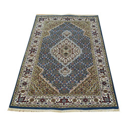 1800-Get-A-Rug - Denim Blue Wool and Silk Tabriz Mahi Oriental Rug Hand Knotted Sh19813 - Our fine Oriental hand knotted rug collection consists of 100% genuine, hand-knotted and hand-woven rugs from Persia, China, and other areas throughout Asia. Classic, traditional, and offered in a wide range of elaborate designs, every handmade rug is guaranteed to serve as a beautiful and striking element in any interior setting.