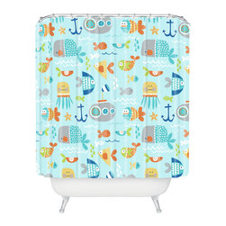 DENY Designs - Wendy Kendall Sealife Shower Curtain - Who says bathrooms can't be fun? To get the most bang for your buck, start with an artistic, inventive shower curtain. We've got endless options that will really make your bathroom pop. Heck, your guests may start spending a little extra time in there because of it!