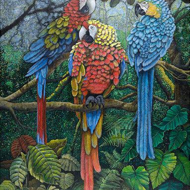 "Rainbow Under The Canopy Artwork, 26""W X 34""H Fine Art Print - 26""W X 34""H Fine Art Print on Watercolor Paper"