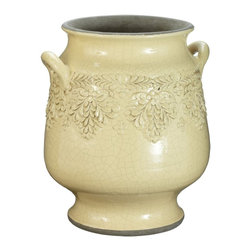Lazy Susan - Lazy Susan 223043 Daffodil Vineyard Urn - Small - Made from terra-cotta and finished with a hand-applied daffodil yellow glaze, this urn features a floral motif and two side handles. Equally at home in a kitchen holding large utensils as it is perched in a sunroom with fresh or dried flowers, it's sure to become a favorite decorating accessory.
