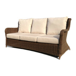 Wicker Paradise - Outdoor Wicker Sofa - Bayshore - Our Bayshore sofa provides deep seating for your pleasure and relaxation. Thick Sunbrella cushions supply a firm yet comfortable environment. This sofa is sure to be inviting and will be the envy of all your guests. Add the Bayshore sofa to your patio collection and start your outdoor living in style!