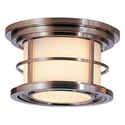 Murray Feiss - Murray Feiss Lighthouse Transitional Outdoor Flush Mount Ceiling Light X-SB3122L - Clean lines and a blend of subtle traditional influencing with nautical inspiring are the focal point of this Murray Feiss outdoor flush mount ceiling light. From the Lighthouse Collection, it features a modern Brushed Steel finish over a sturdy aluminum construction. A clean opal etched glass shade completes the look.