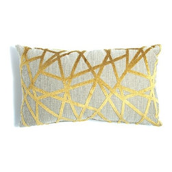 Angles Pillow - THIS FABRIC IS LIKE WOVEN MODERN ART! DIAGONAL LINES IN YELLOW VELVET CREATE ANGLES OVER A GREY-BROWN TWEED BACKDROP.
