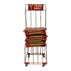 "Canvas Shopping Basket Cart - This is a great piece of Americana; an old shopping basket cart which hold the little collapsible canvas baskets used to do your shopping at the old ""five & dime"" type of stores.  It has a total of 9 totes with canvas body and bright red metal handles topped with wood.  Most of the totes are in very good condition with just a few little areas of wear but all are useable and a few look almost brand new.  The canvas is a bright red, yellow and navy blue.  The cart is on wheels and is really sturdy."