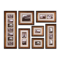 Uttermost - Uttermost 14459 Newark Hanging Photo Collage Set of 7 - This collection of frames features a heavily antiqued gold finish with a matte black outer edge. Ivory linen mats surround photos. May be hung horizontal or vertical. Holds photo Sizes: 12-4x6, 1-8x10, 4-5x7 Frame Sizes: 15x44, 17x19, 13x29, 2-14x24 & 2-1